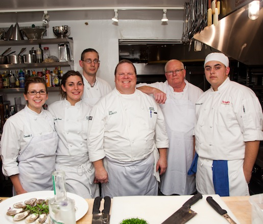 Chef Lou Rook III and his crew in the Beard House kitchen