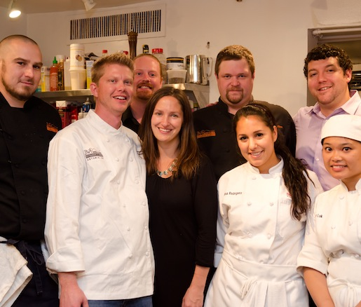 Chef Christopher Holen and his team in the Beard House kitchen