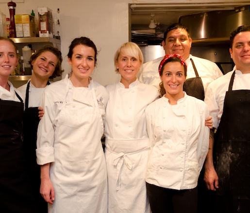 Chef Karey B. Johnson and her team in the Beard House kitchen
