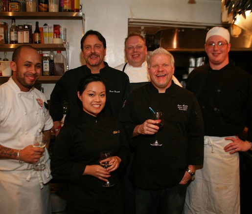 Chef Dave Martin and his team in the Beard House kitchen