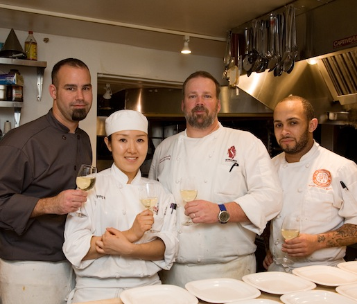 Chef Scott Varnedoe and his chef team in the Beard House kitchen