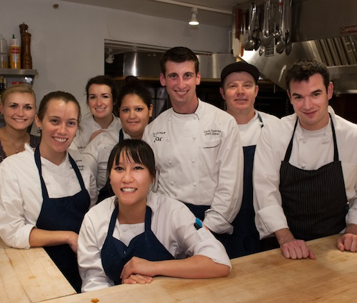 Chef Christopher Coombs and his team in the Beard House kitchen