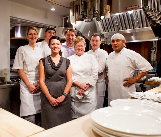 Chef Cindy Wolf and her team in the Beard House kitchen