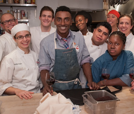 Chef Marcus Samuelsson and his team in the Beard House kitchen