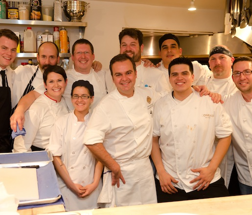 Chefs Aaron Brooks and Joshua Smith and their team in the Beard House kitchen
