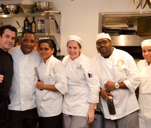 Chef Raúl Vaquerizo and his team in the Beard House kitchen