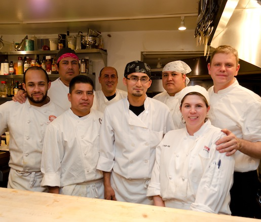 Chef Billy Oliva and his team in the Beard House kitchen