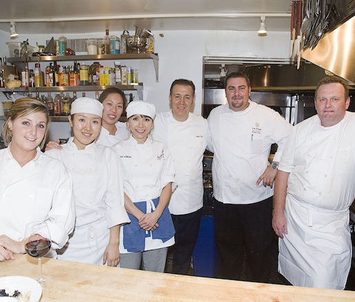 Chefs Rickie Piper and Angelo Elia and their team in the Beard House kitchen
