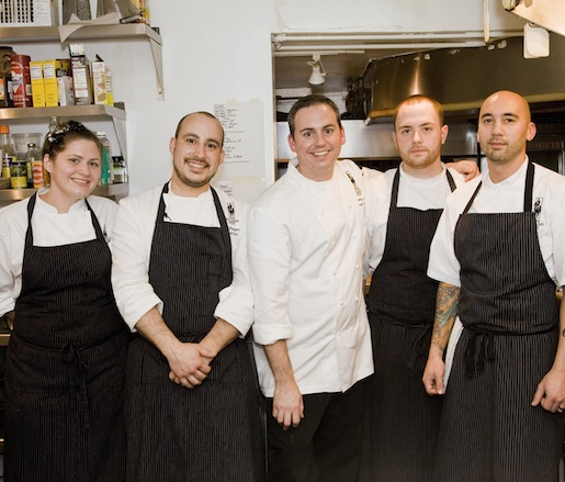 Chef Anthony Bucco and his team in the Beard House kitchen