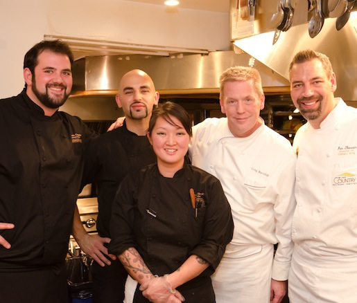 Chef Antonio Campolio and his team in the Beard House kitchen