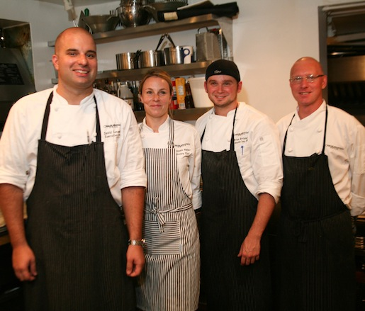 Chef David Gutowski and his team in the Beard House kitchen