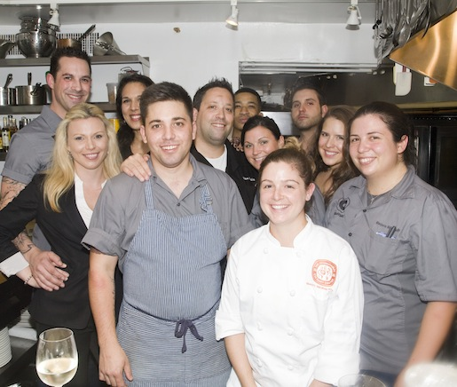 Chef Mike Isabella and his team in the Beard House kitchen