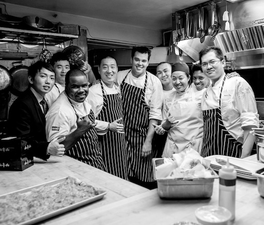 Chef Akira Back and his team in the Beard House kitchen