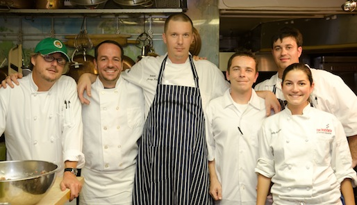 Chef Jeremy Holst and his team in the Beard House kitchen