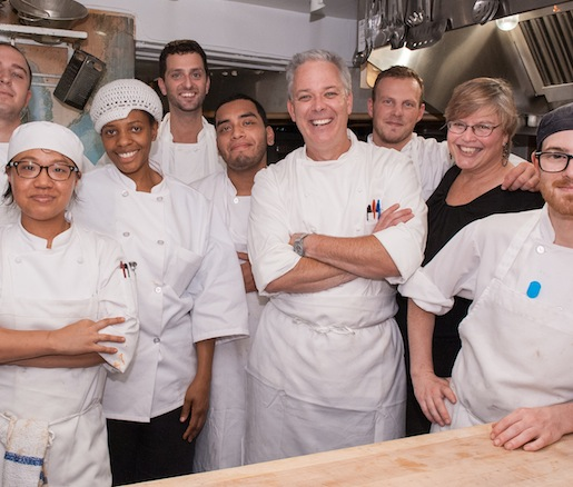 Chef Chip Smith and his team in the Beard House kitchen