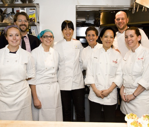 Chefs Joanne Chang and Nicole Rhode and their team in the Beard House kitchen