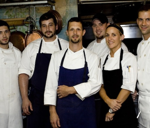 Chef Jeffrey Power and his crew in the Beard House kitchen