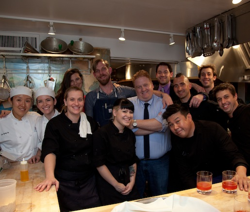 Chef Marc Forgione and his crew in the Beard House kitchen