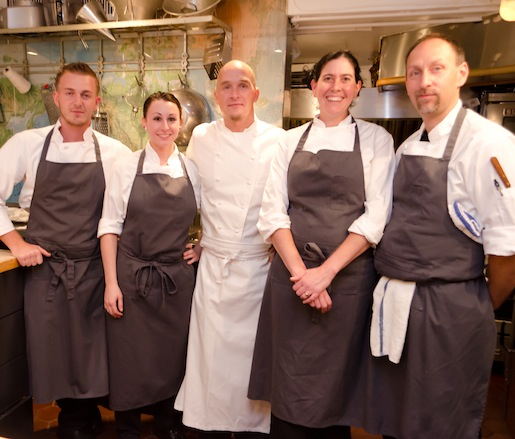 Chef Brian Lewis and his team in the Beard House kitchen