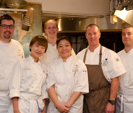 Chef Ryan Littman and his crew in the Beard House kitchen