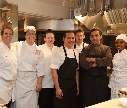 Chef Matthew Dolan and his team in the Beard House kitchen