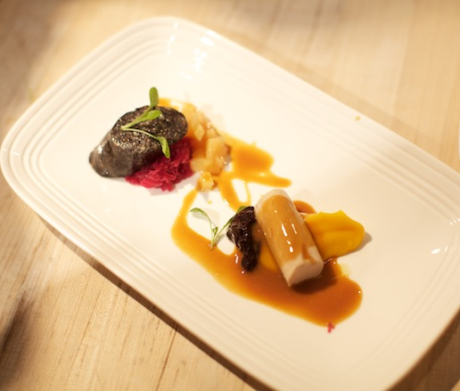 Guinea Hen with Red Cabbage Sauerkraut, Kabocha Squash, Foie Gras Sausage, Seckel Pears, and Huckleberry Preserves
