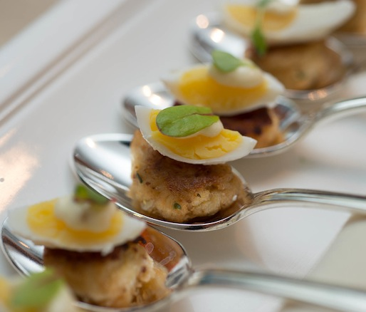 Miniature Crispy Chesapeake Crabcakes with Deviled Quail Eggs