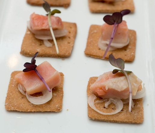 Pickled Coho Salmon with Cipolline on Bluebird Grain Farms Emmer Wheat Thins