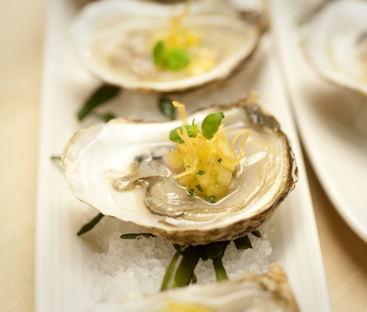 East Coast Oysters with Pineapple Mignonette, Crispy Ginger, and Cilantro