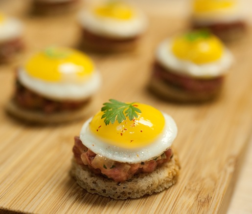 Grass-Fed Piedmontese Beef Tartare with Quail Eggs and Country Sourdough