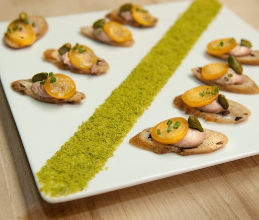 Hudson Valley Duck Liver–Foie Gras Mousseline on Olive Crostini with Kumquats and Pistachios