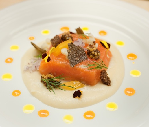 Arctic Char Crudo with Green Apple, Fennel Confit, Pickled Mustard Seed, and Saffron