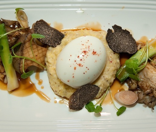 Warm Wild Mushroom Salad with Local Stone-Ground Polenta, Feather Ridge Farm Egg, Baby Leeks, and Banyuls Vinegar Jus
