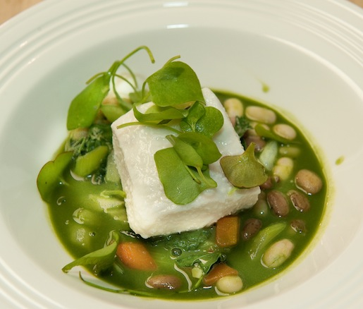 Olive Oil-Poached Halibut with Cayuga Organic Bean Stew, Fennel, Lacinato Kale, and Herbs de Provence