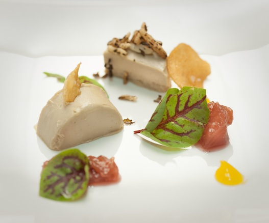 Foie Gras Terrine with Rhubarb, Puffed Rice, Yogurt Powder, and Icewine Vinegar