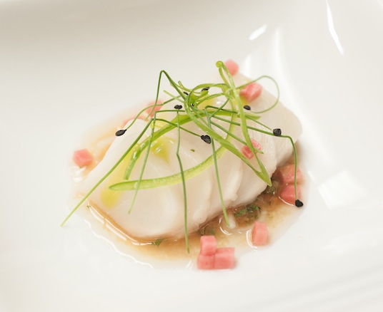 Cured Hawaiian Butterfish with Nahm Jim Thai Sauce, Chilies, and Pickled Watermelon Radishes