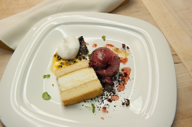 White Miso Semifreddo with Olive Oil Cake, Raspberries, and Wasabi Candy
