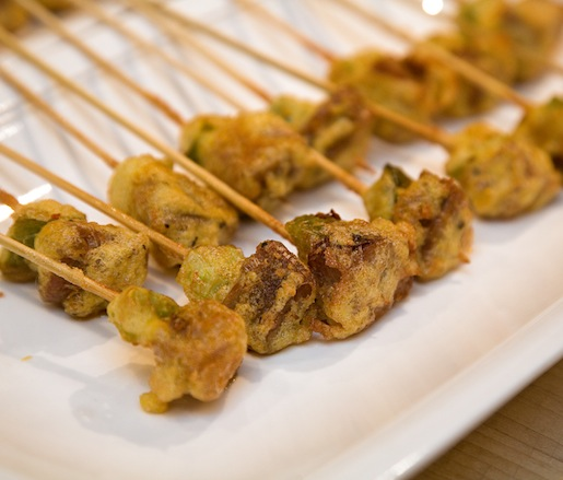 Sausage–Fried Green Tomato Skewers