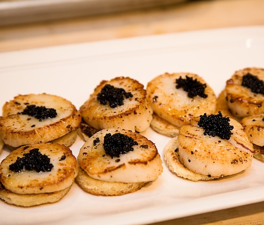 Seared Scallops with Honeyed Caviar on Buttered Toasts