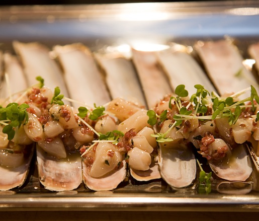 Razor Clams with Jamón Ibérico Vinaigrette