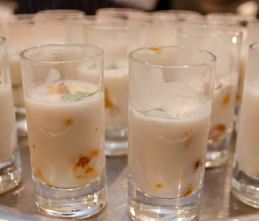 Mussel Shooters with Coconut, Thai Peanuts, Inovasi Limoncello, and Micro-Thyme