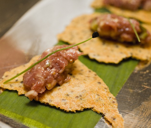 Classic Steak Tartare on Mustard Crackers