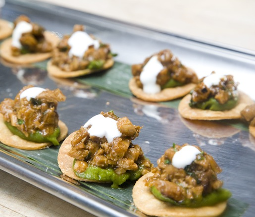 Barbecued Chicken, Poblano Pepper, and Plantain Tostadas