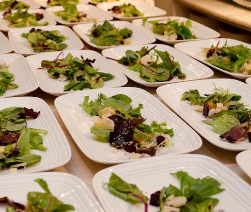 Purslane Salad with Biznaga Blossoms, Beets, Hearts of Palm, and Sesame Seed Vinaigrette