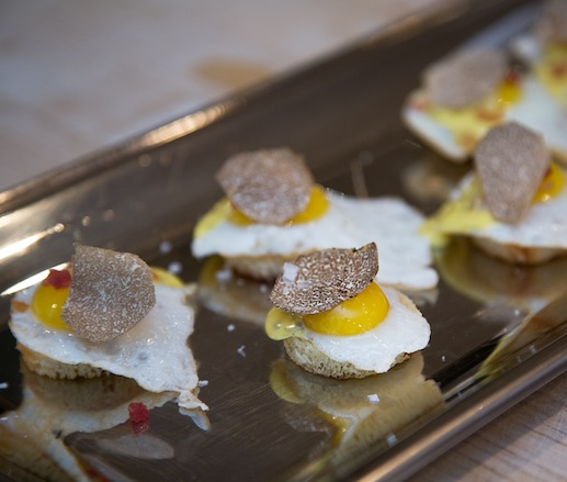 Quail Eggs with House-Smoked Bacon and Truffled Hollandaise on Toasted Brioche