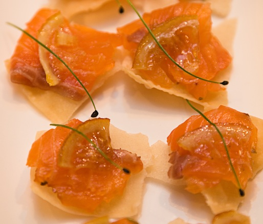 Housemade Grappa–Cured Salmon with Preserved Meyer Lemon on Crisps