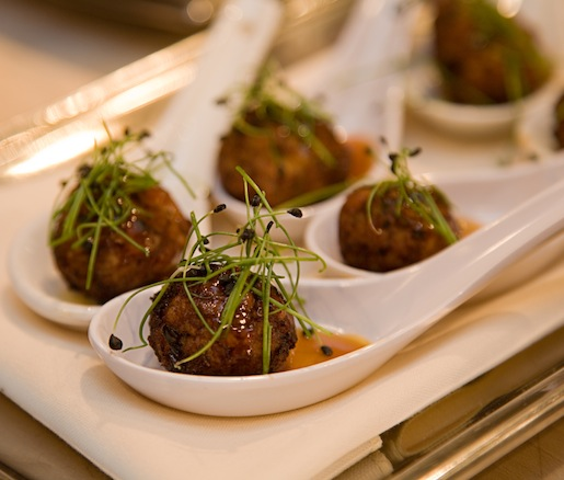 Duck, Turkey, and Foie Gras Meatballs with Sweet-and-Spicy Pumpkin Beer Glaze