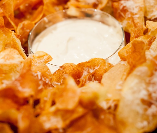 White Truffle Potato Chips with Crème Fraîche