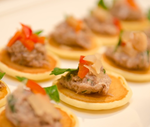 Heritage Pork Rillettes with Spicy Pickled Vegetables on Potato Blini