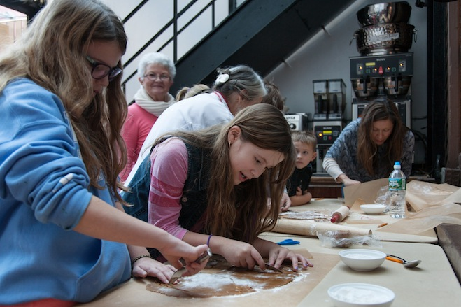 Working with the gingerbread dough
